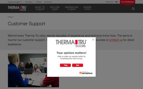 Screenshot of Support Page thermatru.com - Customer Support | Therma-Tru Doors | Therma-Tru Doors - captured Aug. 11, 2017