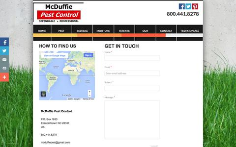 Screenshot of Privacy Page mcduffiepest.com - Contact Us - captured Oct. 27, 2014