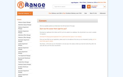 Screenshot of Jobs Page therange.co.uk - The Range - Careers - captured Sept. 19, 2014