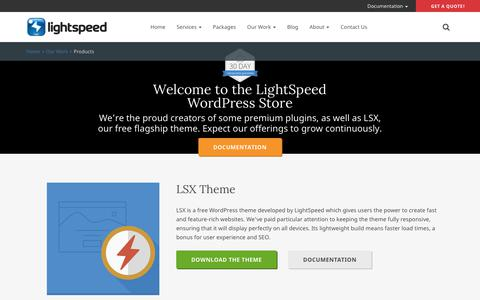 Screenshot of Products Page lsdev.biz - Products | Cape Town Based WordPress Website Solutions | LightSpeed - captured April 29, 2019