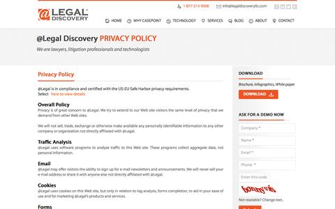 Screenshot of Privacy Page legaldiscoveryllc.com - Privacy Policy | Legal Discovery LLC - captured Oct. 7, 2014