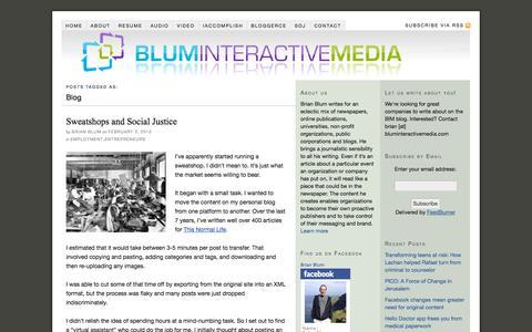 Screenshot of Blog bluminteractivemedia.com - Blog — Blum Interactive Media - Brian Blum - captured Sept. 30, 2014