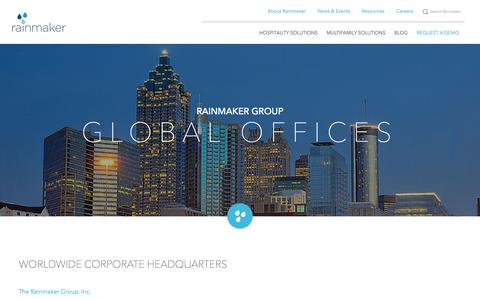 Screenshot of Locations Page letitrain.com - Rainmaker Group - Global Offices - captured Oct. 30, 2016