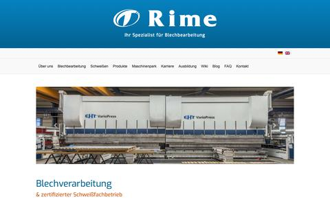 Screenshot of Home Page rime.de - Laserschneiden, Abkanten, Fräsen | Rime GmbH Sachsen - captured Nov. 19, 2018