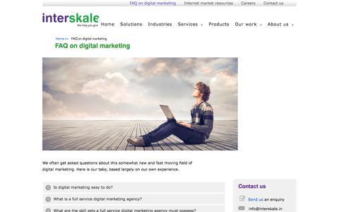Screenshot of FAQ Page interskale.in - FAQ on digital marketing | Digital marketing: an agency viewpoint - captured July 3, 2017