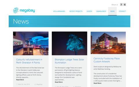 Screenshot of Press Page megabay.com - Latest News and Information | Megabay LED luminaires Manufacturer Australia | Megabay - captured Aug. 10, 2016