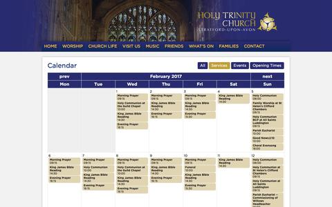 Screenshot of Services Page stratford-upon-avon.org - Shakespeare's Church - Holy Trinity - Stratford-upon-Avon - captured Feb. 28, 2017
