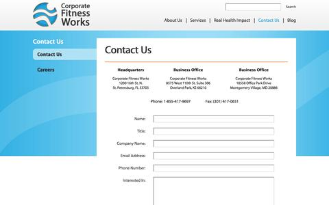 Screenshot of Contact Page corporatefitnessworks.com - Contact Us - Corporate Fitness Works | Fitness Center Management & Consulting | Health & Wellness Programs - captured Sept. 30, 2014
