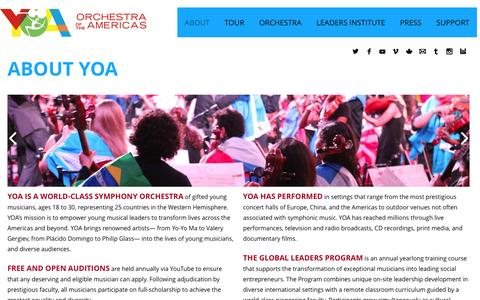 Screenshot of About Page yoa.org - ABOUT YOA ORCHESTRA OF THE AMERICAS | YOA - captured Feb. 3, 2016