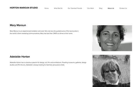 Screenshot of About Page horton-maroun.com - About Us — Horton-Maroun Studio - captured Sept. 3, 2017