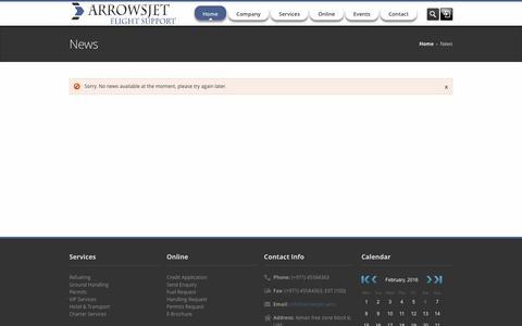Screenshot of Press Page arrowsjet.com - Arrowsjet Flight Support - captured Feb. 6, 2016