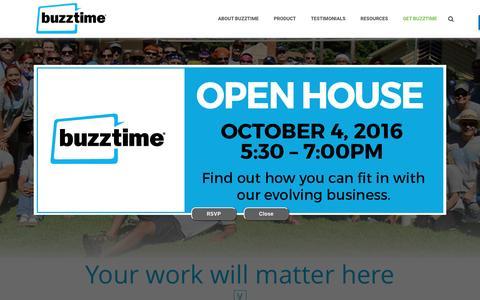 Screenshot of Jobs Page buzztime.com - Careers | Buzztime - captured Oct. 4, 2016