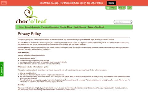 Screenshot of Privacy Page chocoleaf.com - Privacy Policy | www.chocoleaf.com - captured Sept. 29, 2014