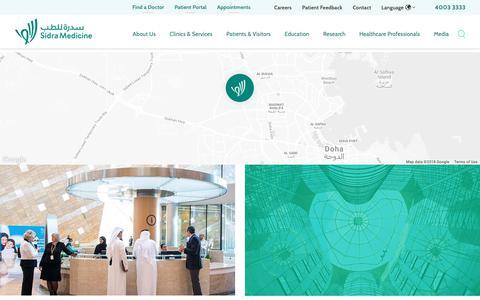 Screenshot of Contact Page sidra.org - Contact Us | Sidra Medicine - captured Nov. 8, 2018