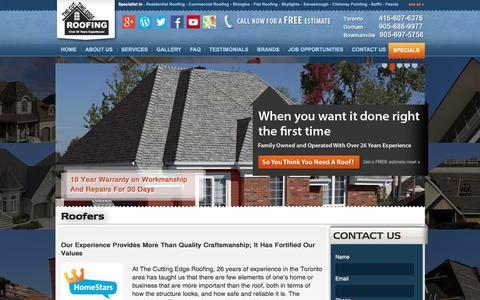 Screenshot of About Page thecuttingedgeroofing.com - Toronto Roofing Services | Roofer Pickering | Roof Repair Bowmanville - captured March 27, 2017