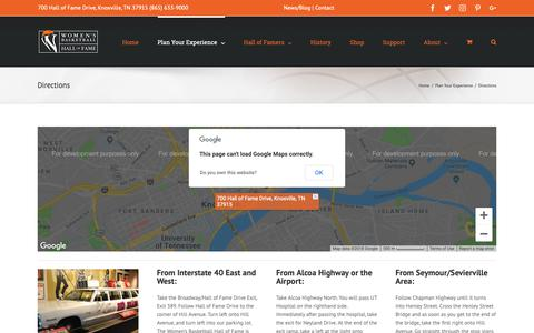 Screenshot of Maps & Directions Page wbhof.com - Directions - Women's Basketball Hall of Fame - captured Oct. 20, 2018