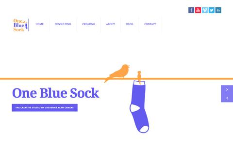 Screenshot of Home Page onebluesock.ca - One Blue Sock - captured Oct. 6, 2014