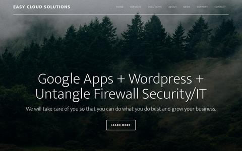 Screenshot of Home Page easycloudsolutions.com - Easy Cloud Solutions: We are consultants specializing in Google Apps, WordPress, Untangle Firewall Security and various cloud solutions in Los Angeles, CA - captured July 18, 2015