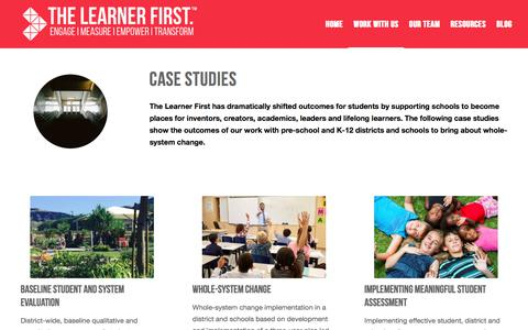 Screenshot of Case Studies Page thelearnerfirst.com - Case Studies - The Learner First - captured Sept. 21, 2018