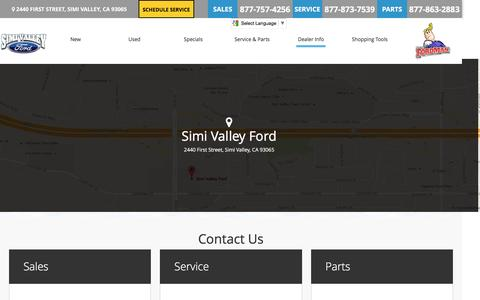 Screenshot of About Page Testimonials Page Maps & Directions Page Hours Page simivalleyford.com - Contact Us | Ford Car Dealer in Simi Valley & Moorpark Area - captured Dec. 19, 2016