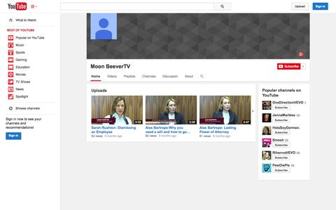 Screenshot of YouTube Page youtube.com - Moon BeeverTV  - YouTube - captured Oct. 25, 2014