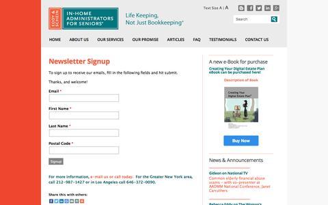 Screenshot of Signup Page eddyandschein.com - Newsletter Signup | Eddy & Schein | New York City Elder Care Finance Services Daily Money Management - captured Jan. 26, 2016