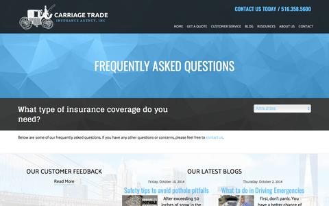 Screenshot of FAQ Page carriagetradeinsurance.com - Frequently Asked Questions - Carriage Trade Insurance Agency - captured July 16, 2017