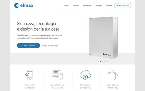 Screenshot of Home Page elmaxsrl.it - Elmax | Soluzioni Elettroniche per la Sicurezza e l'Automazione - captured May 12, 2017