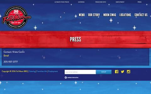 Screenshot of Press Page fullmoonbbq.com - Full Moon BBQ Press Contact - captured April 7, 2016