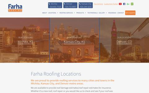 Screenshot of Locations Page farharoofing.com - Farha Roofing Locations | Wichita KS | Kansas City MO | Denver CO - captured Aug. 12, 2018