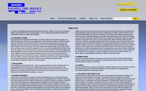 Screenshot of Terms Page danielstireservice.com - Terms of Use and Conditions | Daniels Tire Service - captured Jan. 7, 2016