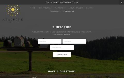 Screenshot of Contact Page abaluche.com - Contact Us — Abaluche Wine Company - captured Feb. 5, 2016
