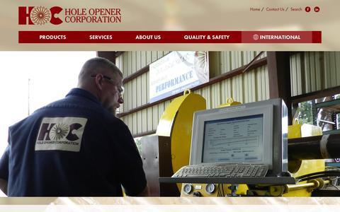 Screenshot of Home Page holeopener.com - Home Page | Hole Opener Corporation | Lafayette, La - captured Jan. 30, 2016