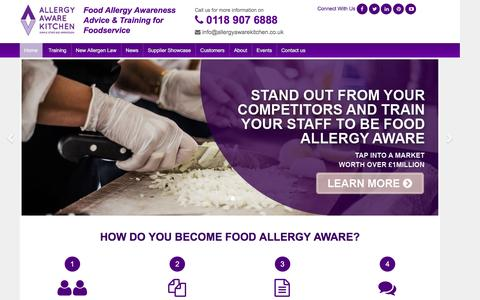Screenshot of Home Page allergyawarekitchen.co.uk - Food Allergy Awareness Training for the Food Service Industry - captured Feb. 5, 2016