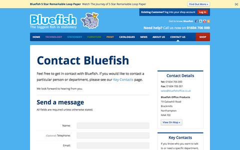 Screenshot of Contact Page bluefishoffice.co.uk - Contact us - Bluefish Office Products - bluefishoffice.co.uk - captured Oct. 5, 2014