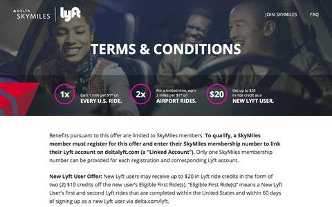 Screenshot of Terms Page deltalyft.com - Terms & Conditions – Delta SkyMiles & Lyft: Ride Rewarded - captured March 15, 2018