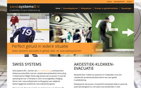 Screenshot of Home Page ontruimingen-klokken-versterkers.nl - Swiss Systems B.V. | Ontruimingssystemen Kloksystemen Klasse A Versterkers - captured Sept. 2, 2015