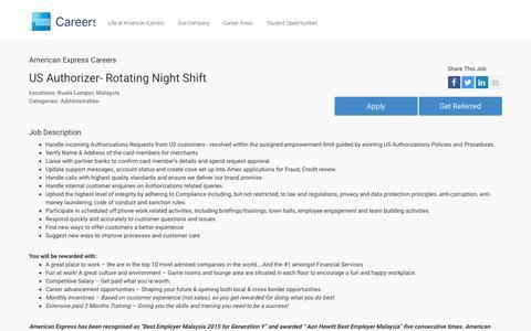 Screenshot of Jobs Page americanexpress.com - Apply For American Express US Authorizer- Rotating Night Shift job - Administration - Kuala Lumpur, Malaysia - captured Oct. 26, 2016