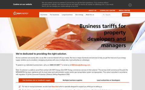 Screenshot of Developers Page edfenergy.com - Business tariffs for property developers and managers | EDF Energy - captured March 5, 2017