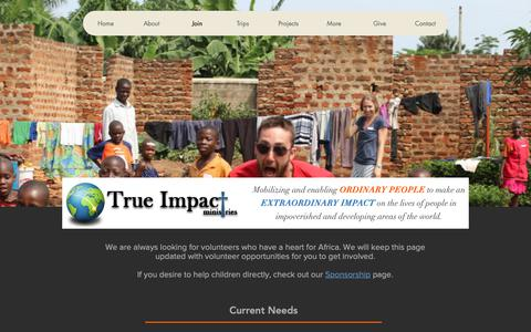 Screenshot of Signup Page trueimpactministries.com - Trueimpact   Join - captured Oct. 20, 2018