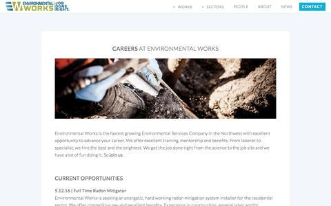 Screenshot of Jobs Page eworksnw.com - Careers at Environmental Works - Portland, OR - captured Nov. 9, 2016