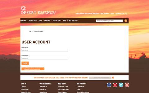 Screenshot of Login Page desertessence.com - User Account | Desert Essence - captured Sept. 23, 2014