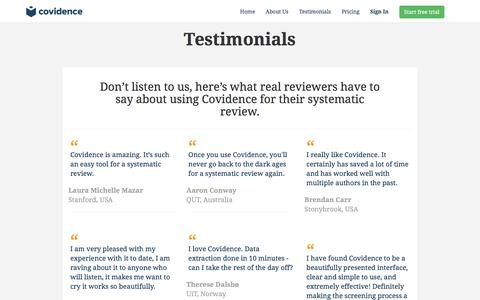 Screenshot of Testimonials Page covidence.org - Covidence - Accelerate your systematic review - captured Nov. 13, 2016