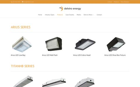Screenshot of Products Page delviroledlighting.ca - Products - delviro energy inc. - captured Oct. 5, 2014