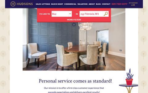 Screenshot of Home Page hudsonsproperty.com - West End & Central London Property Estate Agents - Hudsons - captured Sept. 30, 2018