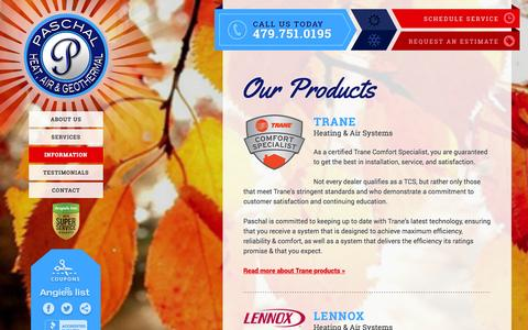 Screenshot of Products Page paschalcorp.com - Products Installed by Paschal Heat, Air & Geothermal in NWA - captured Oct. 1, 2014