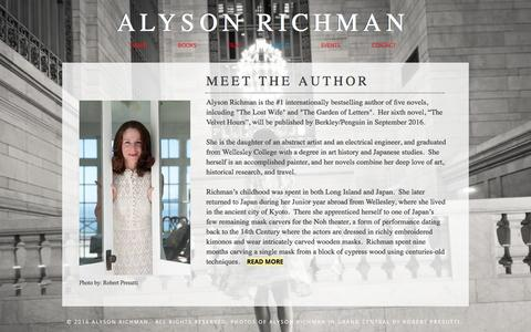 Screenshot of About Page alysonrichman.com - Alyson Richman   Author   The Lost Wife   The Last Van Gogh - captured Jan. 30, 2017