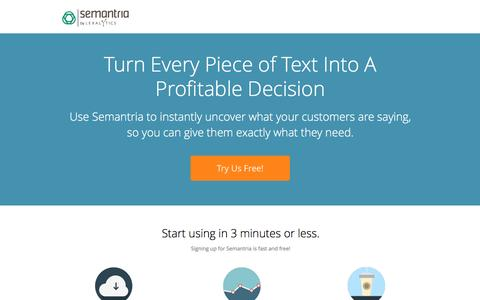 Screenshot of Landing Page semantria.com - Turn Your Text Into A Profitable Decision! - captured Dec. 18, 2015