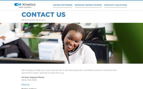 Screenshot of Support Page kinetico.com - Customer Support   Kinetico Water Systems - captured Nov. 27, 2016