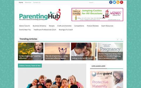 Screenshot of Home Page parentinghub.co.za - Parenting Hub   Online Parenting Magazine - captured Oct. 17, 2016